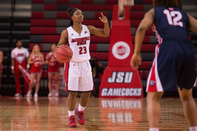 Katy Nowak/JSU Lacey Buchanon (23) had a career-high 11 assists in the narrow loss to SIUE on Saturday.