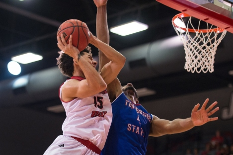 The Jacksonville State men's basketball team had a 63-57 victory over Tennessee State Saturday at Pete Mathews Coliseum. a 63-57 victory over Tennessee State Saturday at Pete Mathews Coliseum. Erik Durham (15)
